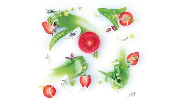 Pea, strawberry and Greek yogurt salad with vanilla-lemon vinaigrette and almond milk